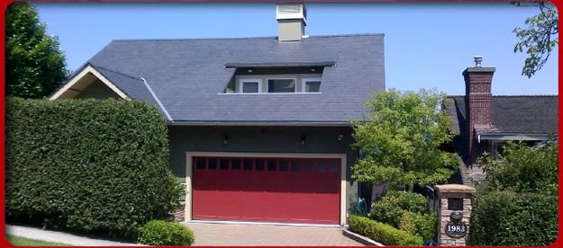 house with red garage door